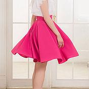 Одежда ручной работы. Ярмарка Мастеров - ручная работа Розовая юбка-солнце. Фуксия. Юбка на каждый день. Handmade.