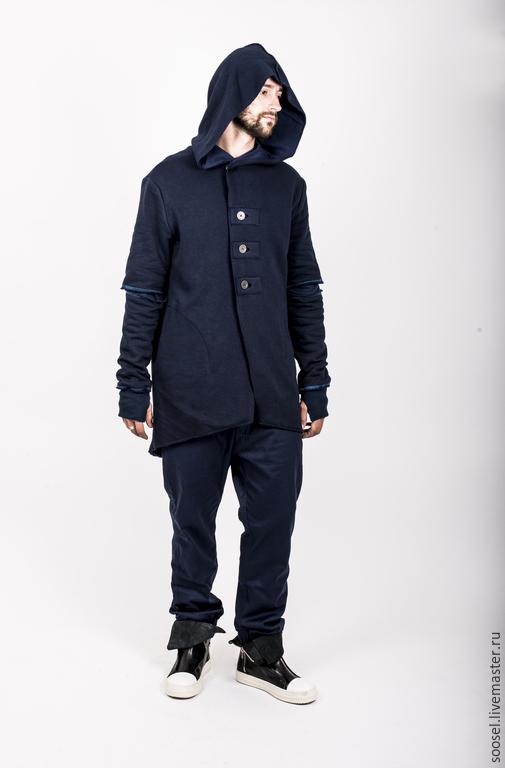 Пиджаки, жакеты ручной работы. Ярмарка Мастеров - ручная работа. Купить Пиджак из футера. Handmade. Тёмно-синий, пиджак мужской