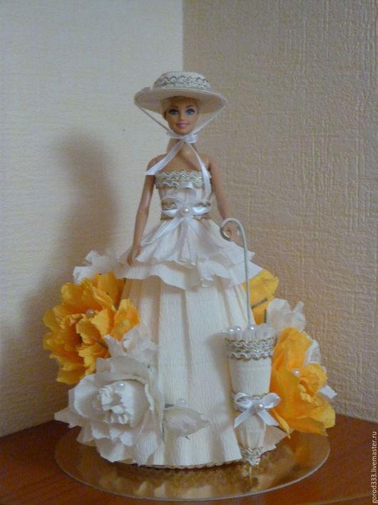Персональные подарки ручной работы. Ярмарка Мастеров - ручная работа. Купить Кукла с декором из конфет. Handmade. Очаровательный, ленты