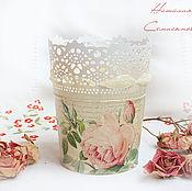 """Цветы и флористика ручной работы. Ярмарка Мастеров - ручная работа Кашпо """"Нежность розы"""". Handmade."""