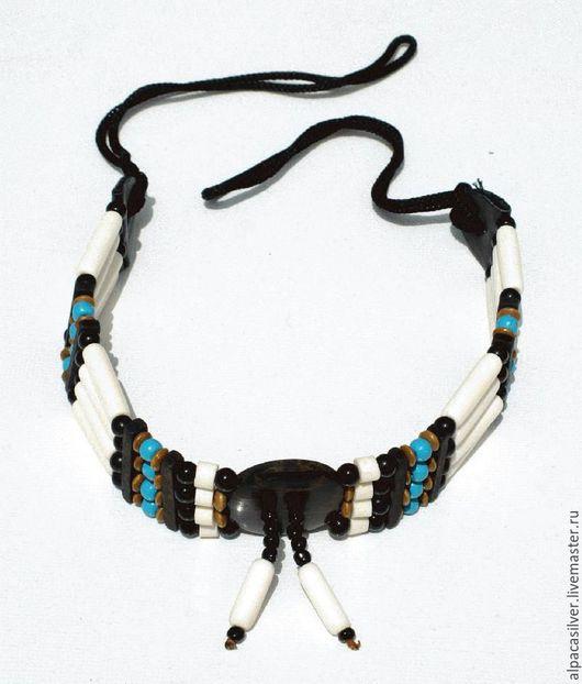 Украшения для мужчин, ручной работы. Ярмарка Мастеров - ручная работа. Купить Индейское ожерелье из кости, дерева, керамики, пластика. Handmade.