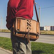 Сумки и аксессуары handmade. Livemaster - original item Messenger bag with carabiners made of leather and canvas. Handmade.