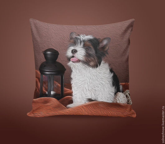 """Текстиль, ковры ручной работы. Ярмарка Мастеров - ручная работа. Купить Подушка """"Бивер Йорк"""". Handmade. Коричневый, собака, щенок"""