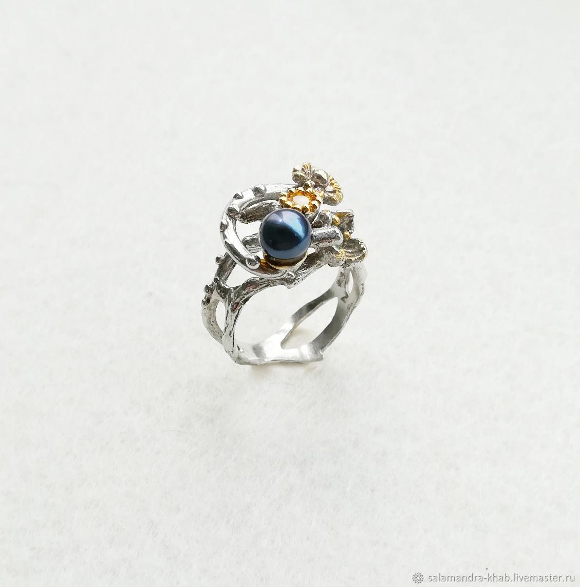 Кольцо с натуральным жемчугом, изумрудом, цитрином. Серебро 925 пробы, Кольца, Хабаровск,  Фото №1