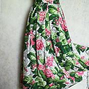 Одежда ручной работы. Ярмарка Мастеров - ручная работа Юбка летняя из хлопка,длинная,в пол,с цветами. Handmade.