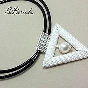 "Украшения handmade. Livemaster - original item White beaded pendant with Swarovski pearl ""Lora"". Handmade."