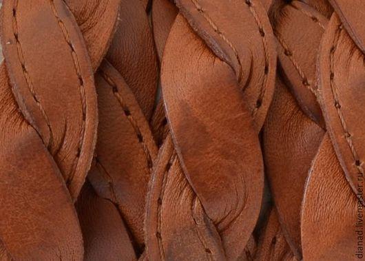 """Для украшений ручной работы. Ярмарка Мастеров - ручная работа. Купить Кожаный шнур, """"косичка"""", плоский 14х2.5мм, рыжий. Испания. Handmade."""