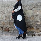 Одежда ручной работы. Ярмарка Мастеров - ручная работа Черный кашемировый теплый зимний макси жилет с карманами. Handmade.