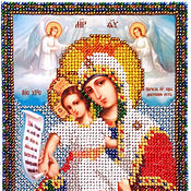 Картины и панно handmade. Livemaster - original item Beaded embroidered icon of the most Holy mother of God