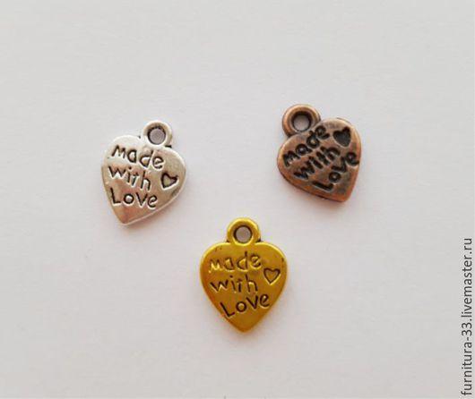Для украшений ручной работы. Ярмарка Мастеров - ручная работа. Купить Подвеска сердце  10 х 12 мм Три цвета. Handmade.