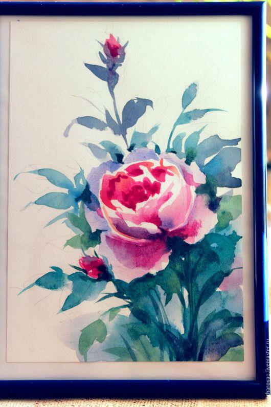 Картины цветов ручной работы. Ярмарка Мастеров - ручная работа. Купить Акварель Холодная роза. Handmade. Фуксия, купить подарок