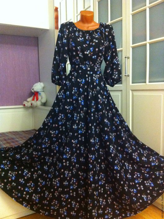 Платья ручной работы. Ярмарка Мастеров - ручная работа. Купить Осеннее платье в пол Кларисса. Handmade. Черный, нарядное платье