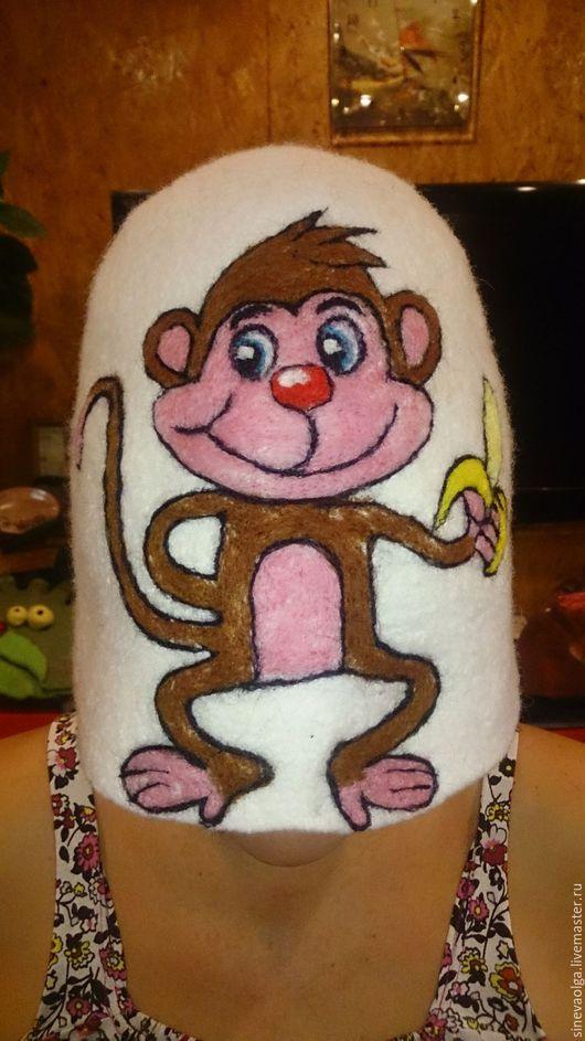 """Банные принадлежности ручной работы. Ярмарка Мастеров - ручная работа. Купить Шапка для бани """"Мартышка"""". Handmade. Коричневый, животное, обезьяна"""