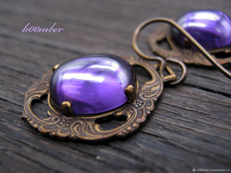 Vintage style. Amethysts. Earrings 'Violet', Earrings, Protvino,  Фото №1
