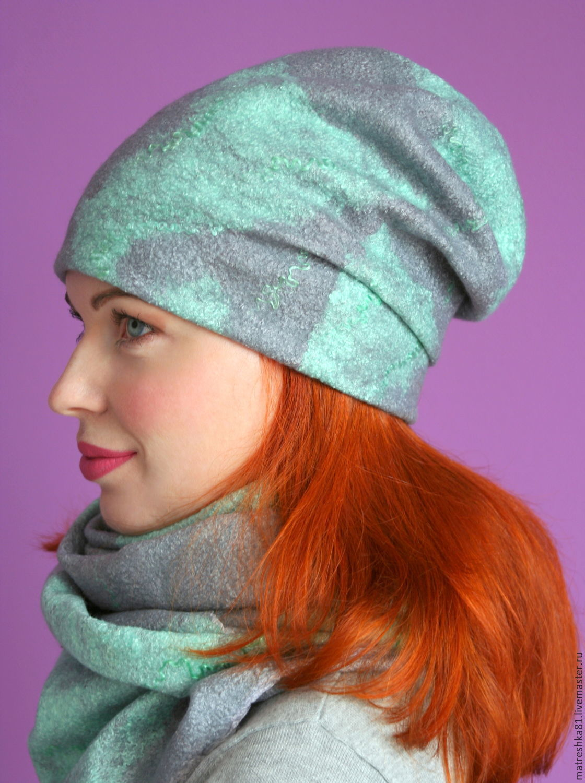 Hat felted feminine. Mint-silver, Caps, Khabarovsk,  Фото №1