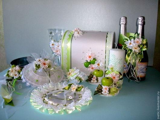 Свадебные аксессуары ручной работы. Ярмарка Мастеров - ручная работа. Купить Яблоневый цвет. Handmade. Салатовый, атласные ленты