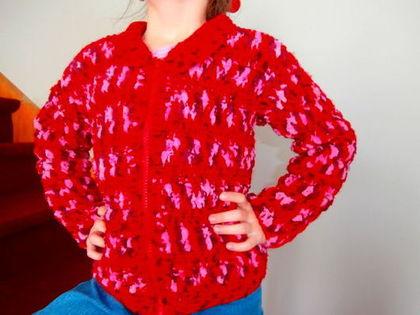 Одежда для девочек, ручной работы. Ярмарка Мастеров - ручная работа. Купить Вязанная кофта для девочки. Handmade. Ярко-красный