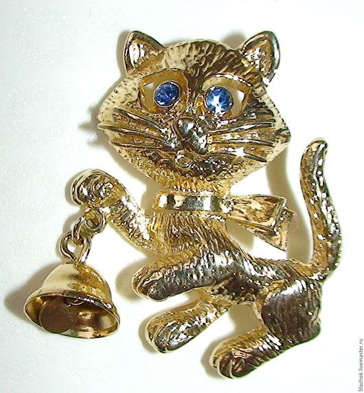 """Винтажные украшения. Ярмарка Мастеров - ручная работа. Купить Брошь """"Котенок с колокольчиком"""" под золото (Avon США). Handmade. Рыжий"""