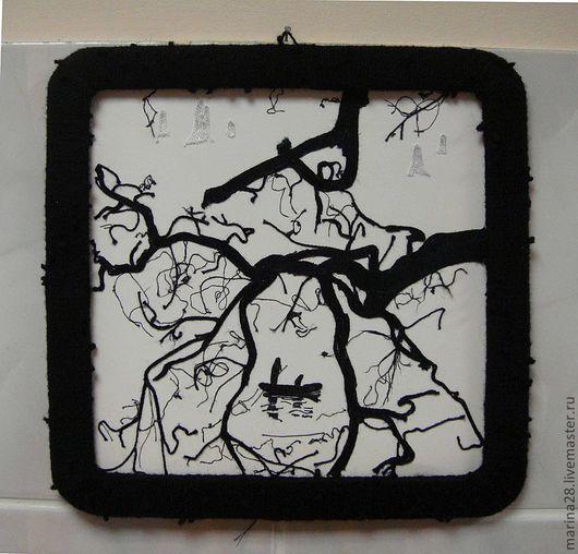 """Пейзаж ручной работы. Ярмарка Мастеров - ручная работа. Купить Картина из ниток """"Река жизни"""" или """"Умиротворение"""". Handmade. Дерево"""