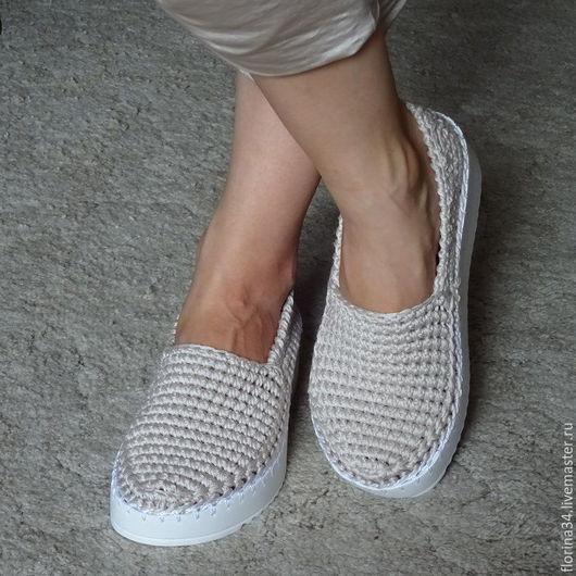 Обувь ручной работы. Ярмарка Мастеров - ручная работа. Купить Слиперы белые , р.38-39. Handmade. подарок женщине