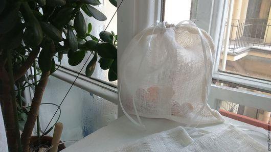 Упаковка ручной работы. Ярмарка Мастеров - ручная работа. Купить Мешочек из льняной органзы. Handmade. Белый, мешочек для белья