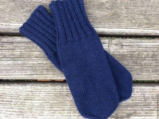 Варежки, митенки, перчатки ручной работы. Купить варежки вязаные синие`Зимнее небо`. Вязаные варежки спицами. Handmade. Ярмарка Мастеров - ручная работа. Синий.