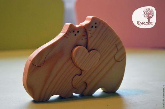 """Развивающие игрушки ручной работы. Ярмарка Мастеров - ручная работа. Купить Кот и Кошечка """"Сладкая парочка"""".Развивающая деревянная игрушка (пазл).. Handmade."""