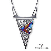 Украшения handmade. Livemaster - original item Architecture silver necklace (silver, titanium, Topaz). Handmade.