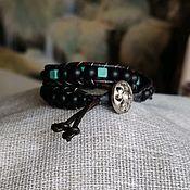 Браслет из бусин ручной работы. Ярмарка Мастеров - ручная работа Браслет кожаный из натуральных камней 2. Handmade.