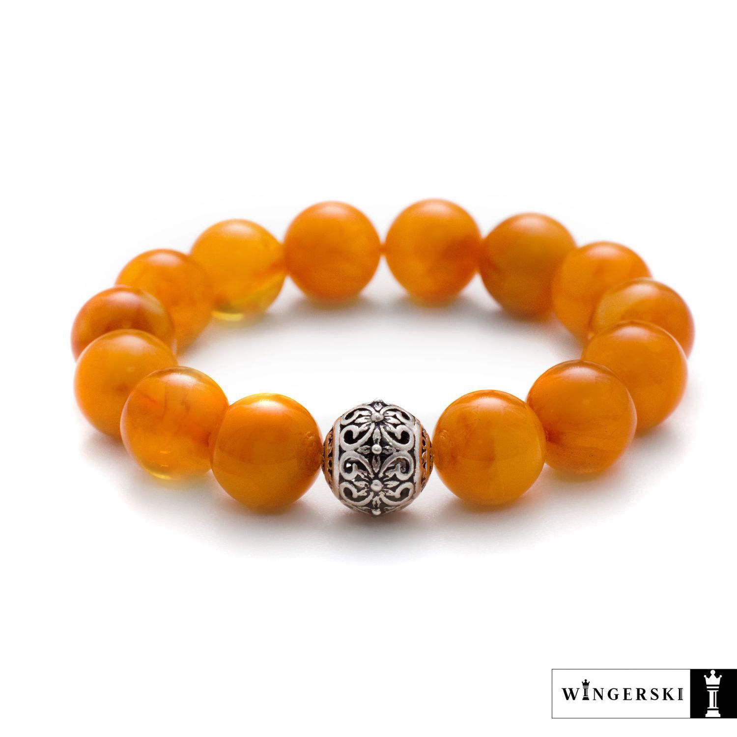 Women's bracelet made of Baltic amber with silver charm, Bead bracelet, Moscow,  Фото №1