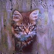 Картины и панно ручной работы. Ярмарка Мастеров - ручная работа Панно с котенком. Handmade.