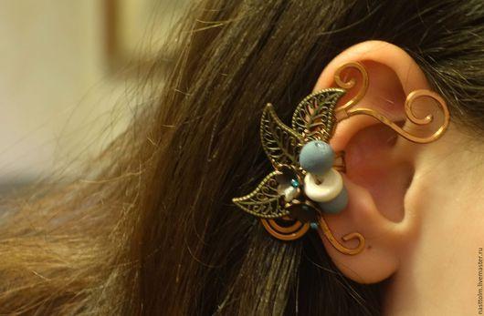 """Каффы ручной работы. Ярмарка Мастеров - ручная работа. Купить Кафф """"Облако цветов"""" на правое ухо. Handmade. Кафф, медь"""