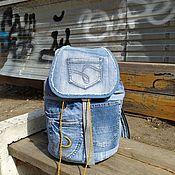 handmade. Livemaster - original item Light Blue denim backpack. Handmade.