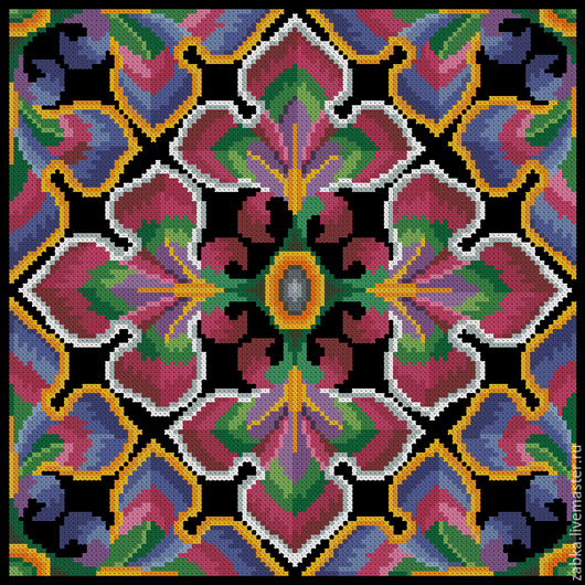 Вышивка ручной работы. Ярмарка Мастеров - ручная работа. Купить Радужная (дизайн для подушки). Handmade. Разноцветный, ретро