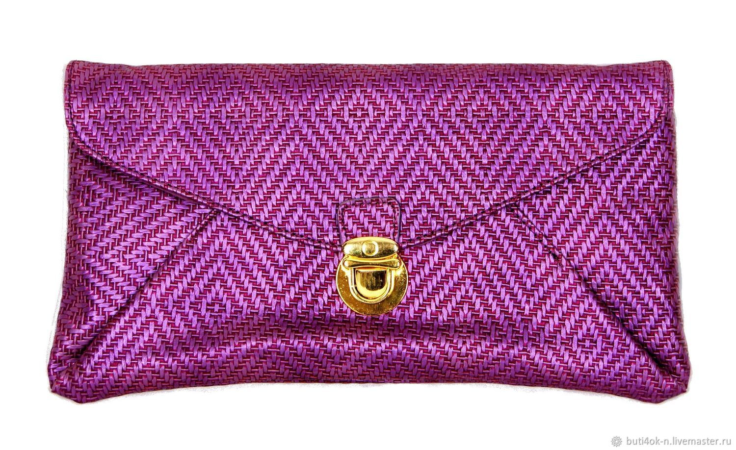 Bright purple clutch bag with a lock. New, Vintage bags, Nelidovo,  Фото №1
