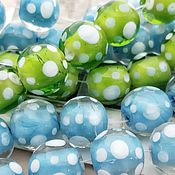 Beads1 handmade. Livemaster - original item Beads lampwork (lampwork) Dots 16 mm BLUE (art. Eight hundred sixty four). Handmade.