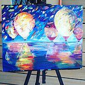 Картины и панно ручной работы. Ярмарка Мастеров - ручная работа картина маслом воздушные шары ночью. Handmade.