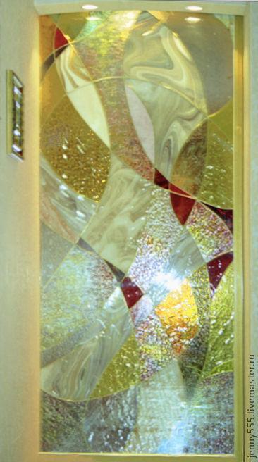 Элементы интерьера ручной работы. Ярмарка Мастеров - ручная работа. Купить витражное панно в дверь. Handmade. Витраж, панно