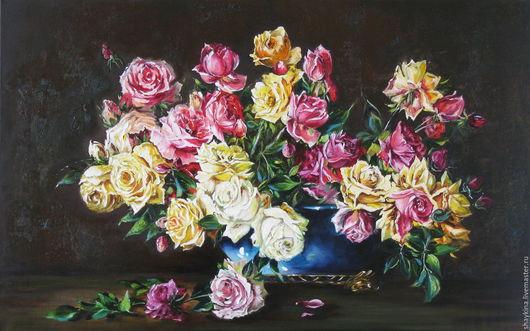 Картины цветов ручной работы. Ярмарка Мастеров - ручная работа. Купить Картина маслом Розы. Handmade. Картина маслом, натюрморт