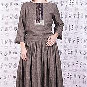 Одежда ручной работы. Ярмарка Мастеров - ручная работа Тёмно-серое льняное платье бохо с декором из хлопка. Handmade.