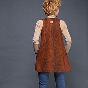 """Одежда ручной работы. Ярмарка Мастеров - ручная работа валяный жилет """"Терракотовый"""". Handmade."""
