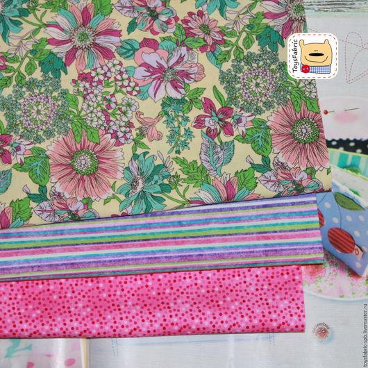 Шитье ручной работы. Ярмарка Мастеров - ручная работа. Купить Набор тканей для пэчворка Цветочный (51741). Handmade. Ткань для творчества