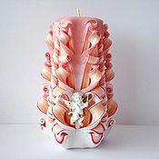 Свадебный салон ручной работы. Ярмарка Мастеров - ручная работа Резная свеча - персиковый белый - свеча с ангелом - интерьерная свеча. Handmade.