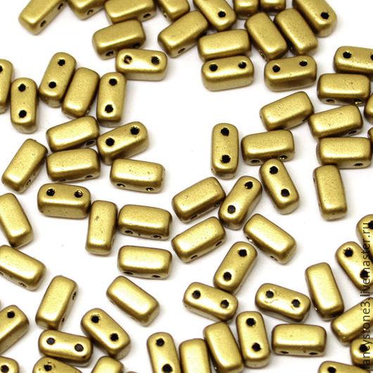 Для украшений ручной работы. Ярмарка Мастеров - ручная работа. Купить Чешские бусины Бриксы 3x6mm Matte Aztec Gold CzechMates Bricks 50шт. Handmade.
