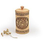 """Для дома и интерьера handmade. Livemaster - original item Туес из бересты """"Маки"""". Баночка для хранения. Handmade."""