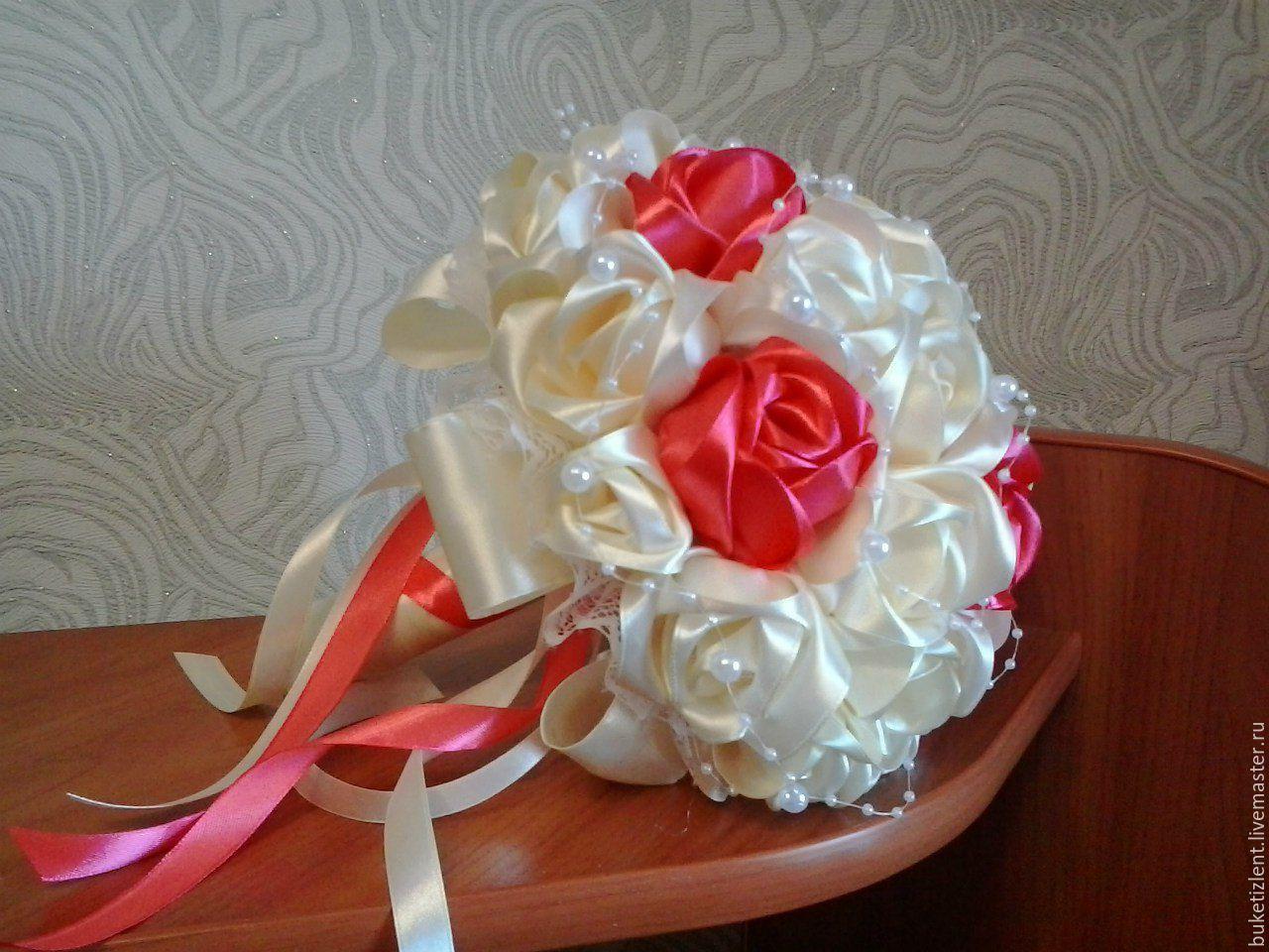 Свадебный букет цветы из лент мастер класс, букетов невесты купить