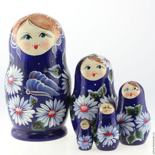 """Матрешки ручной работы. Ярмарка Мастеров - ручная работа. Купить Матрешка средняя 5 мест, """"Синяя с бабочкой"""", 15 см. Handmade."""