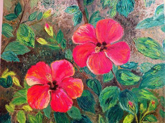 Картины цветов ручной работы. Ярмарка Мастеров - ручная работа. Купить Пламенеющие гибискусы. Handmade. Красные цветы, гибискус, масло