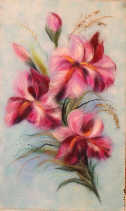 Картины цветов ручной работы. Ярмарка Мастеров - ручная работа. Купить Королевские цветы. Handmade. Фиолетовый, букет ирисов, цветы