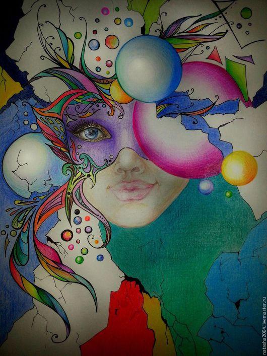 """Фантазийные сюжеты ручной работы. Ярмарка Мастеров - ручная работа. Купить """"Карнавал"""". Handmade. Комбинированный, цветные карандаши, авторская работа"""